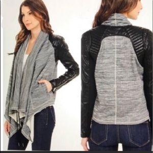 BLANKNYC Vegan Leather Black Grey Jacket Top